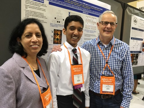 Aditya with his mother and another researcher.